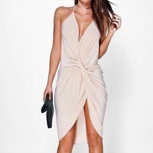 NWT Boohoo strappy knot midi dress